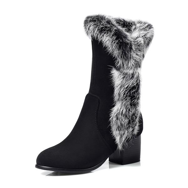 Женщины Замша Устойчивый каблук Закрытый мыс Ботинки Сапоги до колен с Цветок обувь