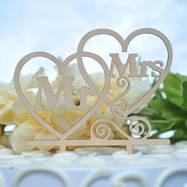 Corazones Dobles/Mr & Mrs Madera Decoración de tortas