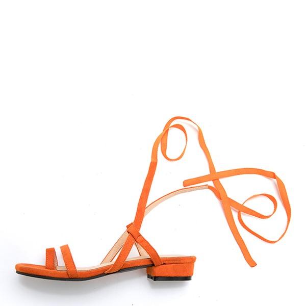 Donna Camoscio Senza tacco Sandalo Punta aperta con Allacciato scarpe