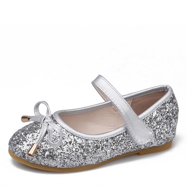 Fille de bout rond Bout fermé Cuir verni Glitter mousseux talon plat Chaussures plates Chaussures de fille de fleur avec Bowknot Velcro