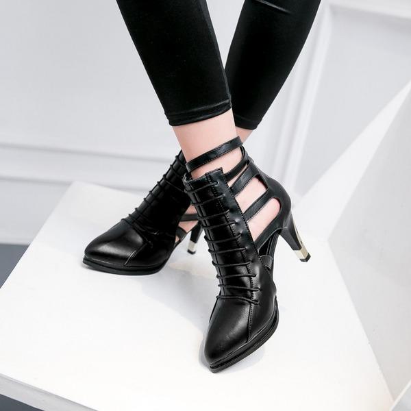Femmes Similicuir Talon stiletto Sandales Escarpins Bout fermé Bottines avec Zip Ouvertes chaussures