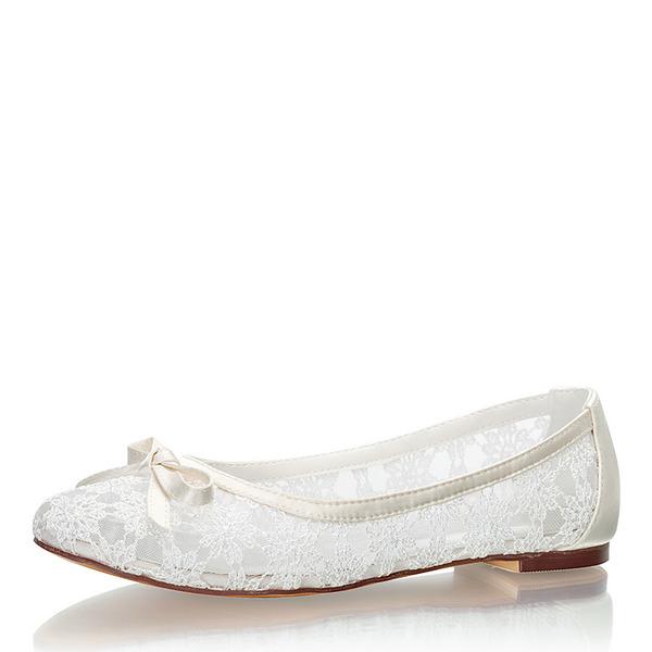Femmes Dentelle Soie comme du satin Talon plat Bout fermé Chaussures plates avec Bowknot
