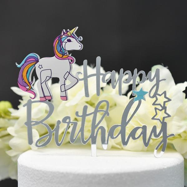 Joyeux anniversaire Acrylique Décoration pour gâteaux (Vendu dans une seule pièce)