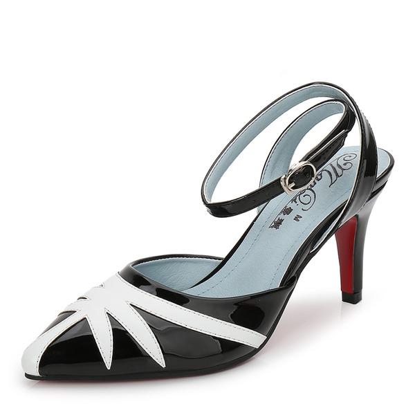Frauen Lackleder Stöckel Absatz Sandalen Absatzschuhe Geschlossene Zehe Slingpumps mit Zuschnüren Schuhe