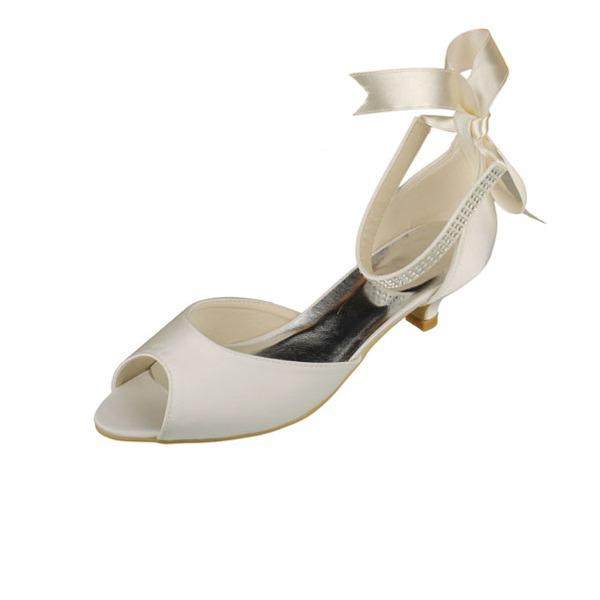 Kvinnor Satäng Kitten Heel Peep Toe Sandaler med Kristall