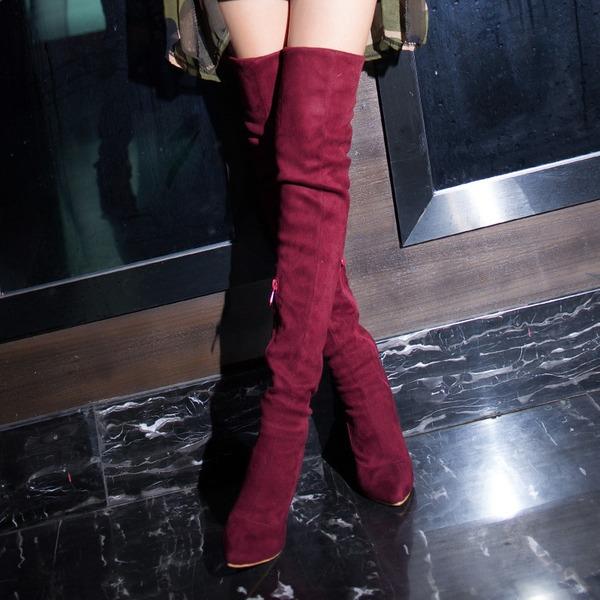 Kvinnor Mocka Stilettklack Pumps Stövlar Over The Knee Boots med Zipper skor