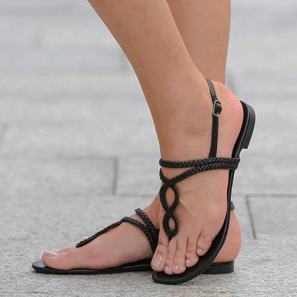 Femmes PU Talon plat Sandales Chaussures plates À bout ouvert Escarpins avec Boucle Lanière tressé chaussures