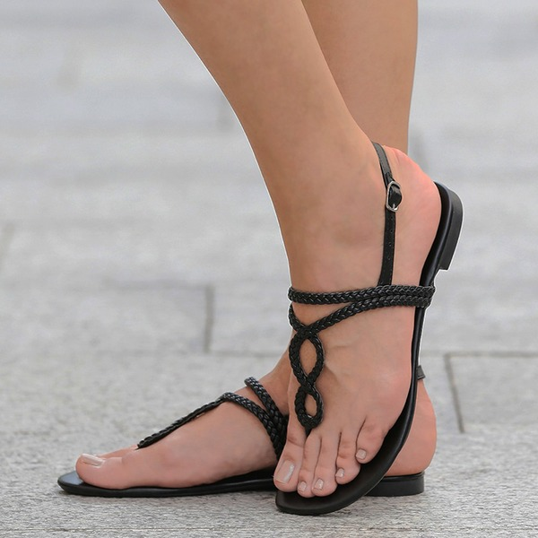 Frauen PU Flascher Absatz Sandalen Flache Schuhe Peep Toe Slingpumps mit Schnalle Geflochtenes Band Schuhe