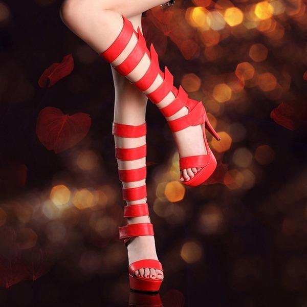 Kvinnor PVC Stilettklack Pumps Plattform Peep Toe Knäkickkängor med Ihåliga ut skor