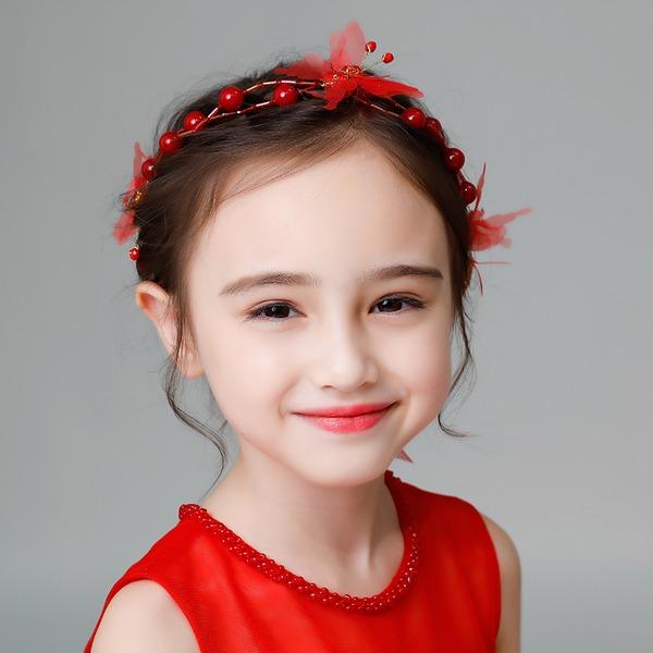 Enfants Mode Strass/Alliage/De faux pearl/Fleur en soie Tiaras avec Strass/Perle Vénitienne (Vendu dans une seule pièce)