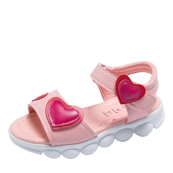 Girl's Peep Toe Slingback Leatherette Flat Heel Sandals Flats Sneakers & Athletic With Velcro