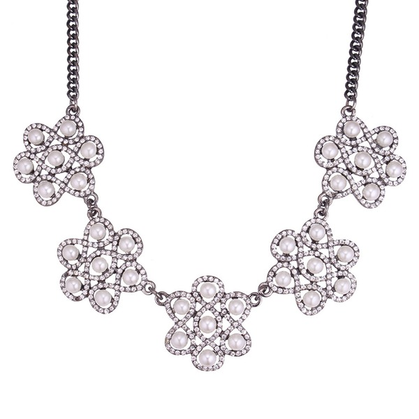 Fashional Alloy Rhinestones Imitation Pearls Ladies' Fashion Necklace