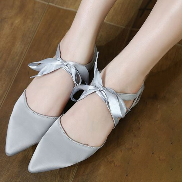 Frauen Satin Flascher Absatz Flache Schuhe Geschlossene Zehe mit Zuschnüren Schuhe