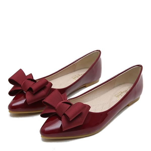 Donna Pelle verniciata Senza tacco Ballerine Punta chiusa con Bowknot scarpe