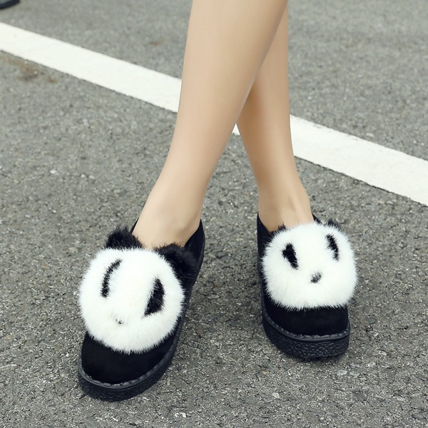 Women's Suede Flat Heel Flats Closed Toe With Fur shoes