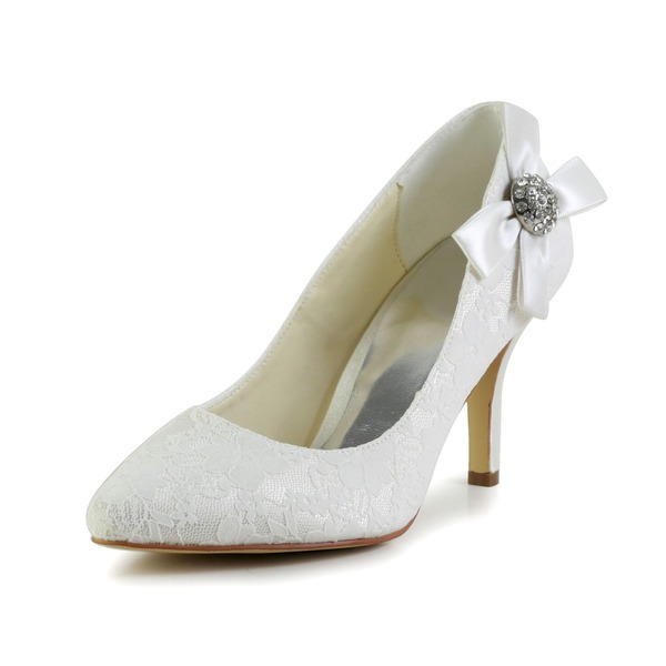 Vrouwen Satijn Cone Heel Closed Toe Pumps met Strik Strass