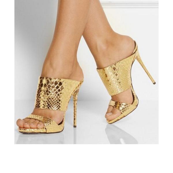 Donna PU Tacco a spillo Sandalo Stiletto Punta aperta Con cinturino scarpe