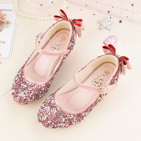 Mädchens Round Toe Geschlossene Zehe funkelnden Glitter niedrige Ferse Sandalen Blumenmädchen Schuhe mit Bowknot