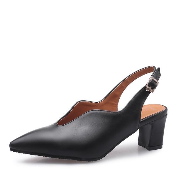 Femmes Similicuir Talon bottier Sandales Escarpins Bout fermé avec Boucle chaussures