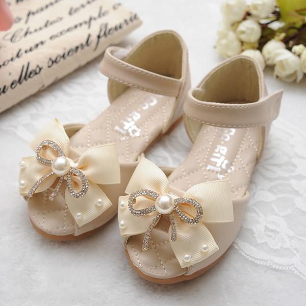 Jentas Titte Tå Leather flat Heel Flate sko Flower Girl Shoes med Bowknot Velcro Perle