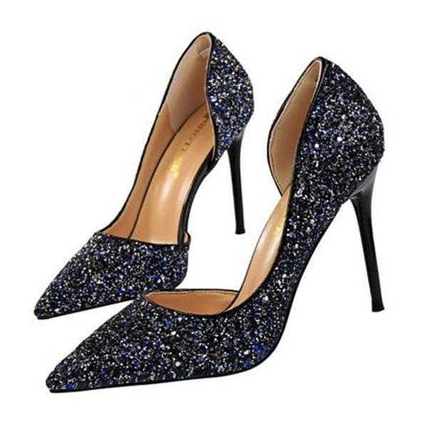 Mulheres Espumante Glitter Salto agulha Sandálias Bombas Fechados sapatos