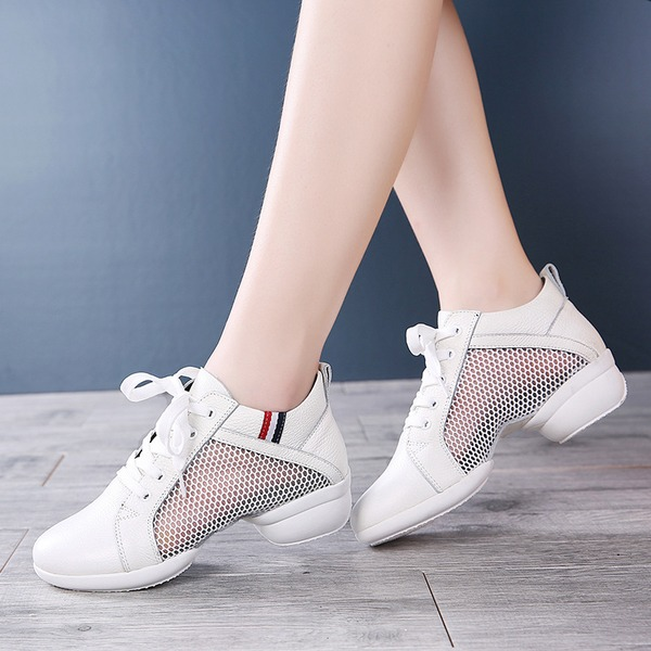 Women's Real Leather Mesh Sneakers Modern Jazz Sneakers Dance Shoes