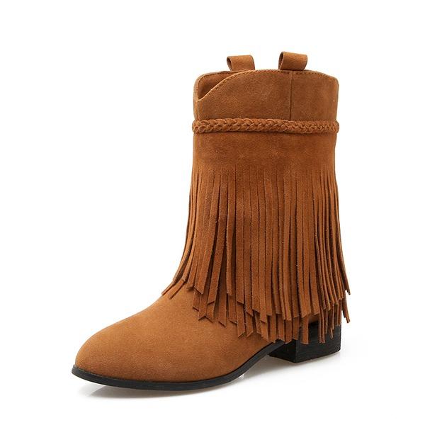 Kvinnor Mocka Låg Klack Stövlar Halva Vaden Stövlar med Tofs skor