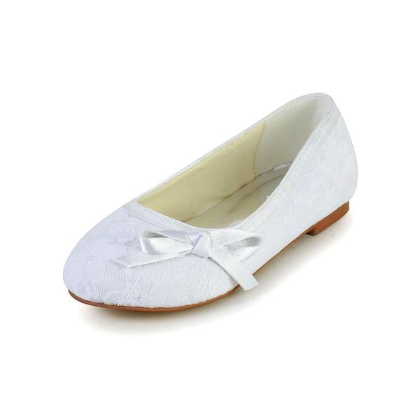 Fille de Bout fermé Dentelle Satin talon plat Chaussures plates Chaussures de fille de fleur avec Bowknot