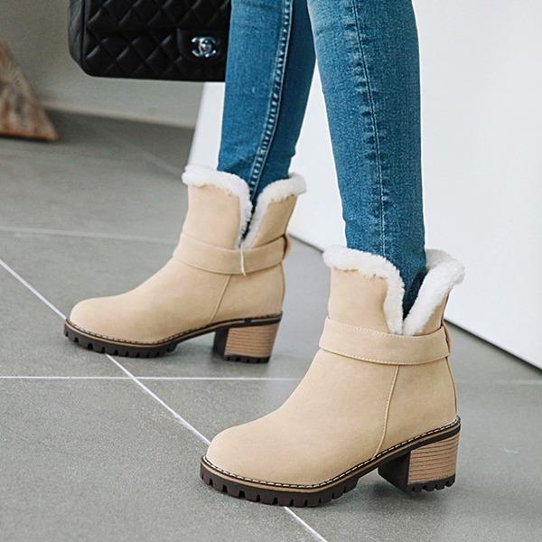 Женщины кожа Устойчивый каблук Ботинки Полусапоги Зимние сапоги أحذية