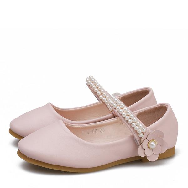 Fille de bout rond Bout fermé Cuir en microfibre talon plat Chaussures plates Chaussures de fille de fleur avec Velcro Une fleur