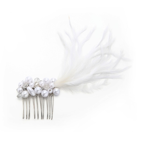 Ladies Unique Imitation Pearls/Feather Combs & Barrettes With Venetian Pearl (Sold in single piece)