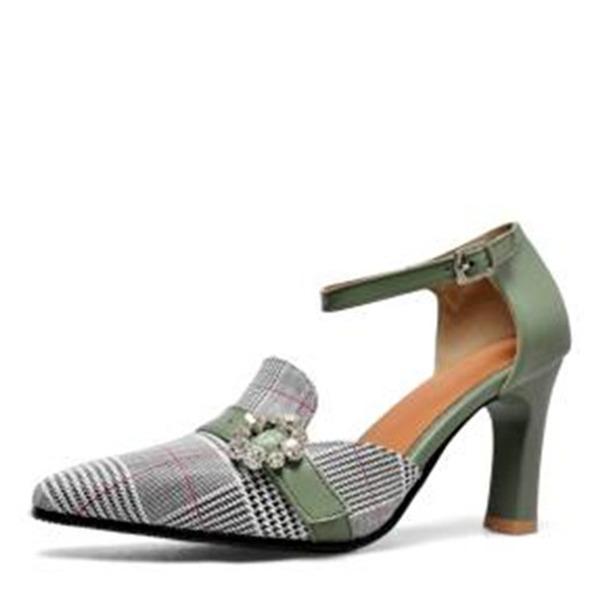 Женщины кожа Устойчивый каблук На каблуках Закрытый мыс с горный хрусталь обувь