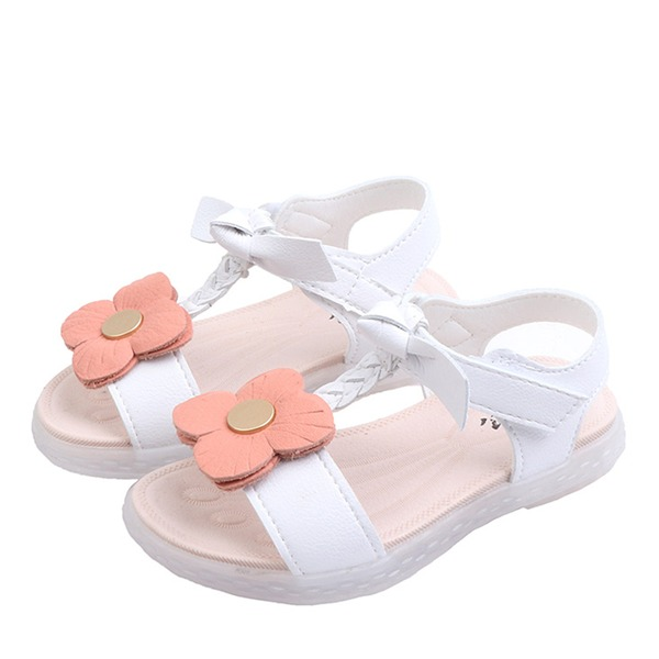 Girl's Peep Toe Slingback Leatherette Flat Heel Sandals Flats Sneakers & Athletic With Velcro Flower
