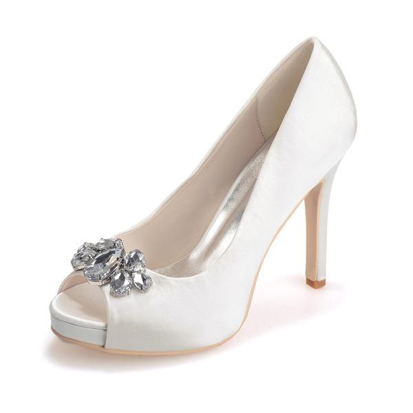 Women's Satin Stiletto Heel Peep Toe Platform Sandals With Crystal