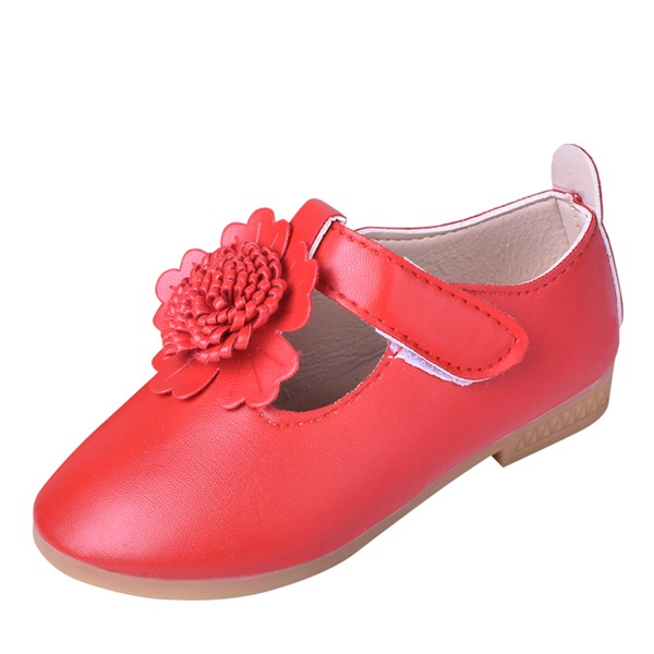 Jentas Round Toe Lukket Tå Leather Flate sko Flower Girl Shoes med Velcro Blomst
