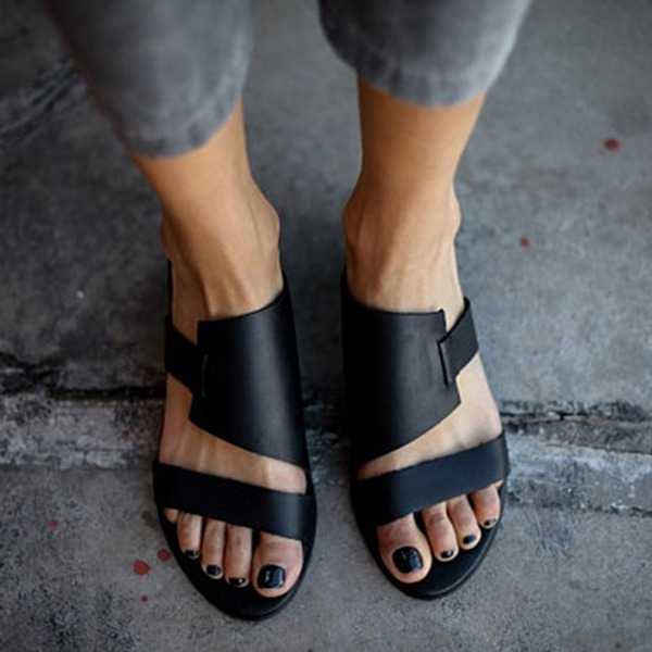 Kvinner Lær Flat Hæl Sandaler Flate sko Titte Tå Slingbacks Tøfler sko