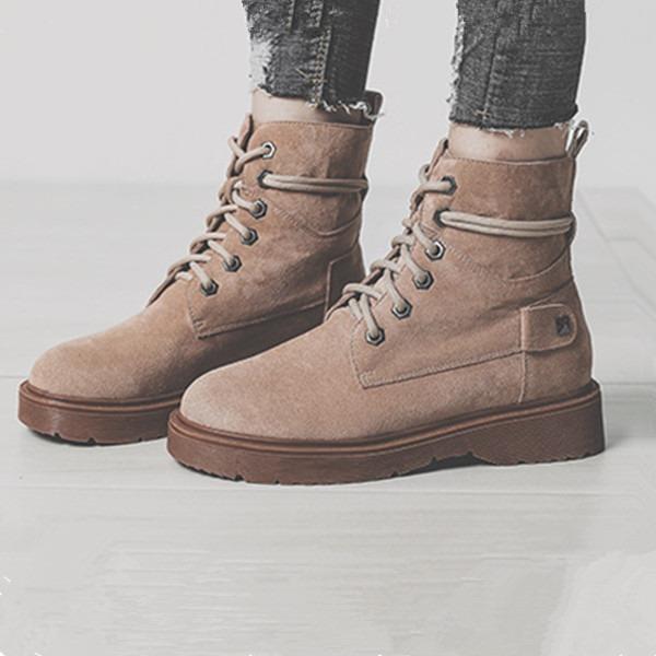Kadın Süet Düz Topuk Bot Martin Boots Ile Bağcıklı ayakkabı
