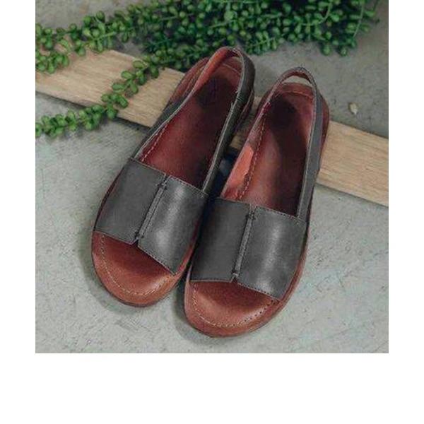 Kvinnor PU Flat Heel Sandaler Platta Skor / Fritidsskor Peep Toe skor