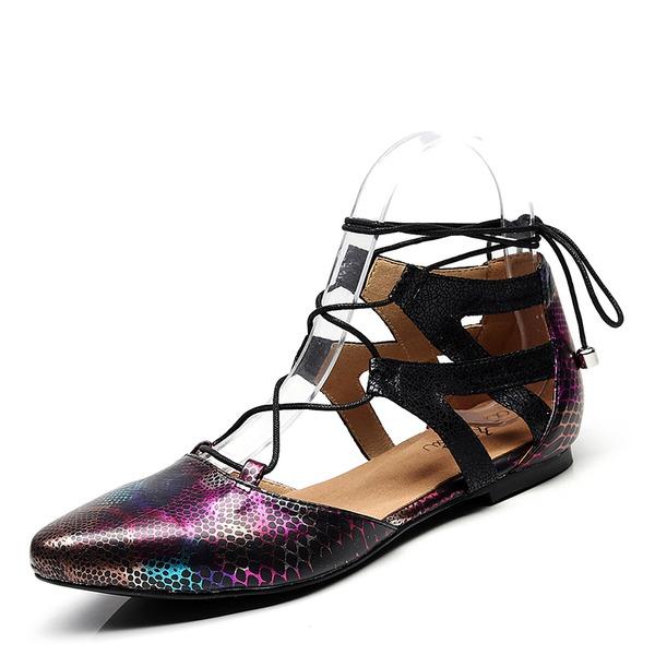 Kvinner PU Flat Hæl Flate sko sko