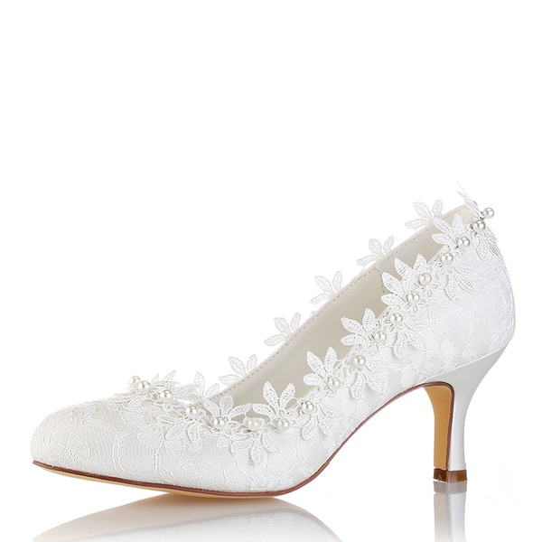 Women's Silk Like Satin Stiletto Heel Closed Toe Pumps With Stitching Lace Pearl