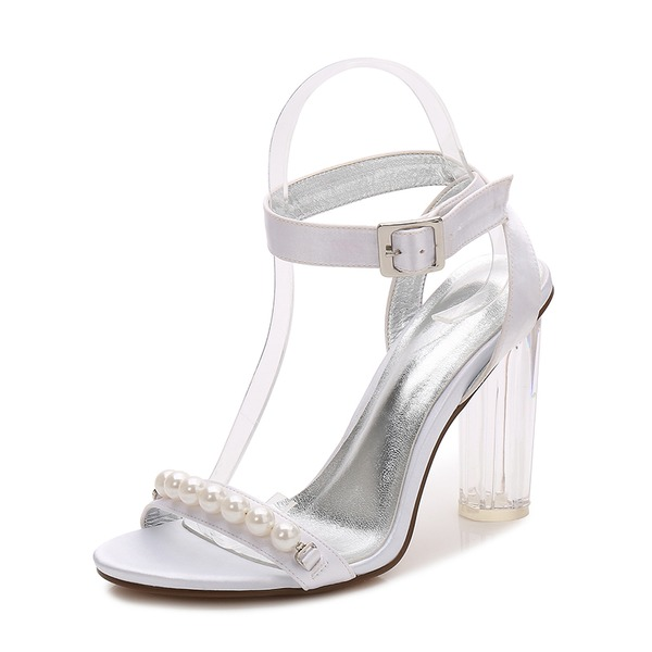 Women's Silk Like Satin Chunky Heel Peep Toe Pumps Sandals Slingbacks With Buckle Imitation Pearl