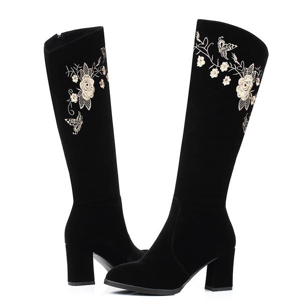 Femmes Suède Talon bottier Escarpins Bottes hautes avec Fleur en satin Zip chaussures