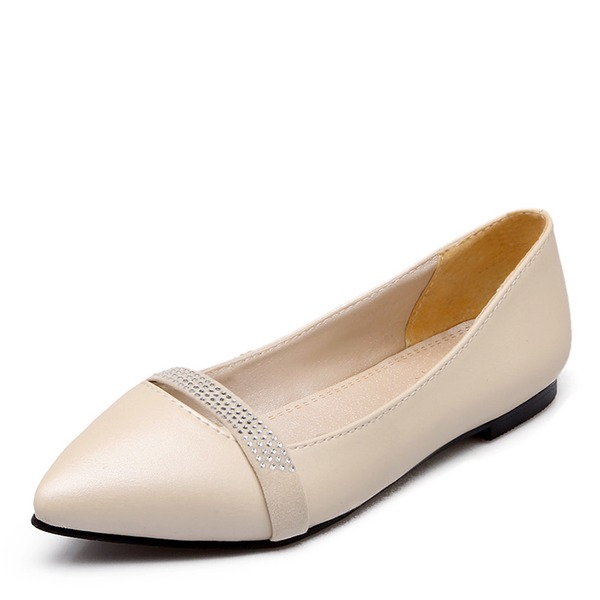 Vrouwen Kunstleer Flat Heel Flats met Strass schoenen