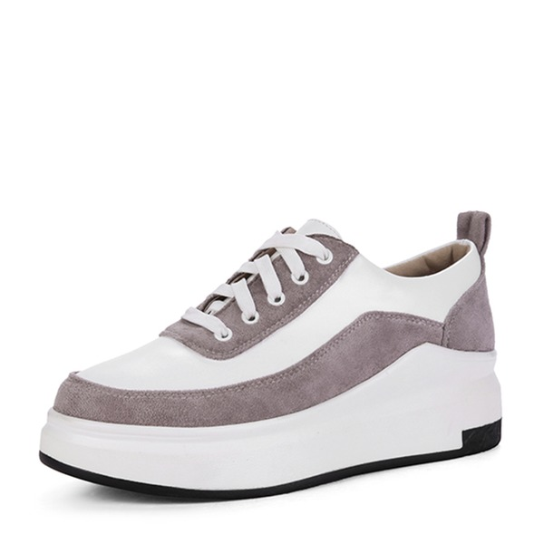 Dla kobiet Zamsz Obcas Koturnowy Plaskie Zakryte Palce Koturny Z Sznurowanie Łączona obuwie