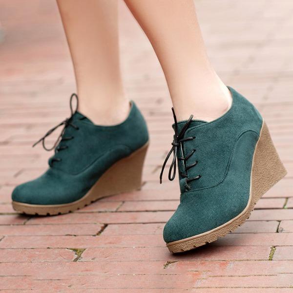Kvinnor Mocka Kilklack Pumps Plattform Kilar Stövlar Boots med Bandage skor