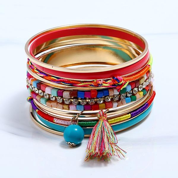 Mode Legierung Strasssteine mit Quasten Strass Damen Mode Armbänder (Set von 9)