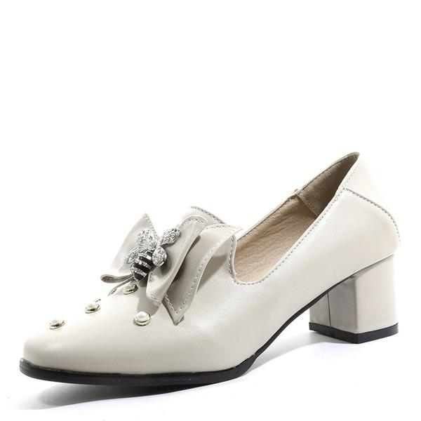 De mujer Cuero Tacón ancho con Bowknot Rivet zapatos