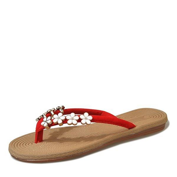 Frauen Kunstleder Flascher Absatz Sandalen Flache Schuhe Slingpumps Flip Flops mit Perlstickerei Blume Schuhe