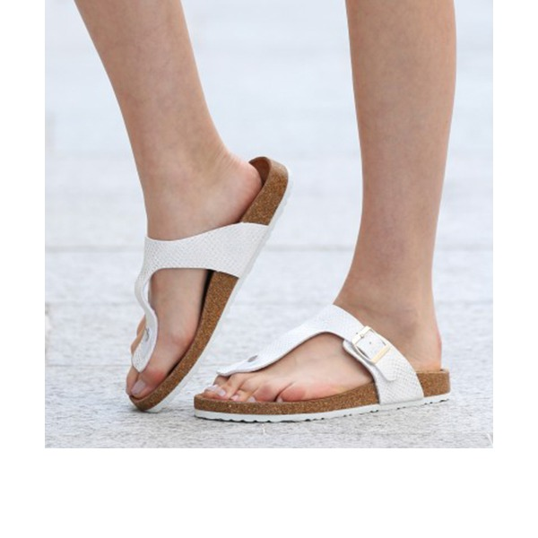 Femmes PU Talon plat Sandales Chaussures plates À bout ouvert Escarpins Chaussons chaussures