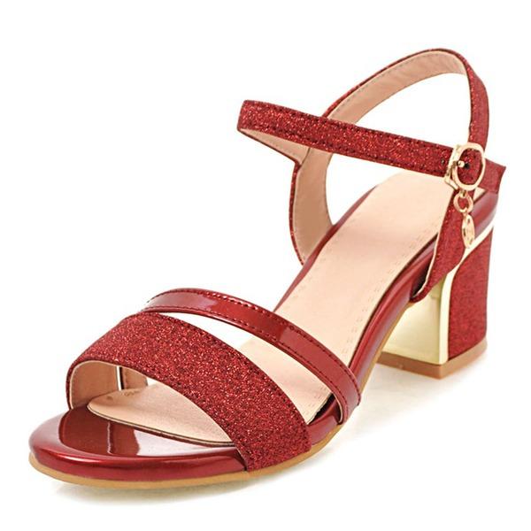 Naisten Keinonahasta Chunky heel Sandaalit Peep toe Kantiohihnakengät kengät
